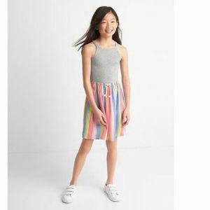 Gap Kids Gray Rainbow Stripe Cami Dress